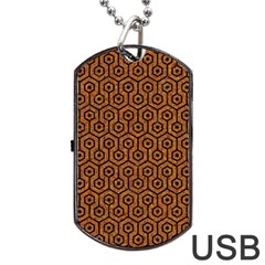 Hexagon1 Black Marble & Rusted Metal Dog Tag Usb Flash (two Sides)