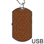 HEXAGON1 BLACK MARBLE & RUSTED METAL Dog Tag USB Flash (Two Sides) Front
