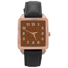 Hexagon1 Black Marble & Rusted Metal Rose Gold Leather Watch  by trendistuff