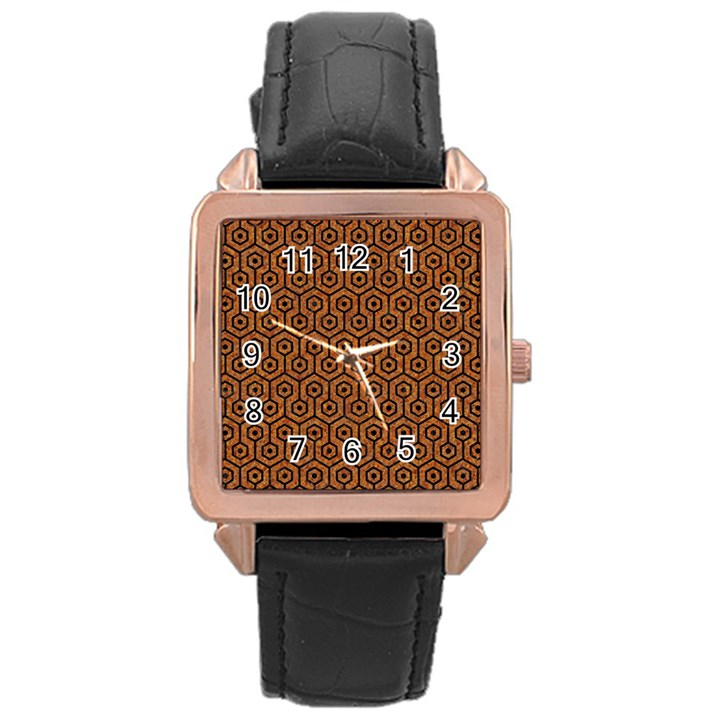 HEXAGON1 BLACK MARBLE & RUSTED METAL Rose Gold Leather Watch