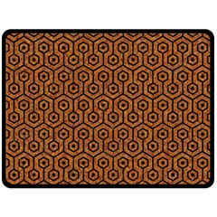 Hexagon1 Black Marble & Rusted Metal Double Sided Fleece Blanket (large)