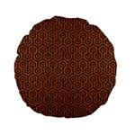 HEXAGON1 BLACK MARBLE & RUSTED METAL Standard 15  Premium Flano Round Cushions Back