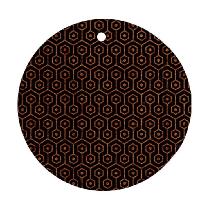 HEXAGON1 BLACK MARBLE & RUSTED METAL (R) Ornament (Round)