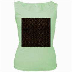 Hexagon1 Black Marble & Rusted Metal (r) Women s Green Tank Top by trendistuff