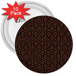 HEXAGON1 BLACK MARBLE & RUSTED METAL (R) 3  Buttons (10 pack)