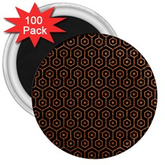 Hexagon1 Black Marble & Rusted Metal (r) 3  Magnets (100 Pack)