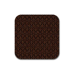 Hexagon1 Black Marble & Rusted Metal (r) Rubber Coaster (square)