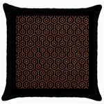 HEXAGON1 BLACK MARBLE & RUSTED METAL (R) Throw Pillow Case (Black)