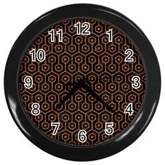 HEXAGON1 BLACK MARBLE & RUSTED METAL (R) Wall Clocks (Black)