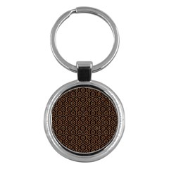 Hexagon1 Black Marble & Rusted Metal (r) Key Chains (round)  by trendistuff