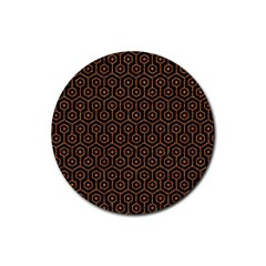 Hexagon1 Black Marble & Rusted Metal (r) Rubber Coaster (round)  by trendistuff