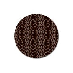 Hexagon1 Black Marble & Rusted Metal (r) Magnet 3  (round) by trendistuff
