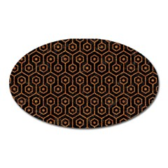Hexagon1 Black Marble & Rusted Metal (r) Oval Magnet