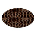 HEXAGON1 BLACK MARBLE & RUSTED METAL (R) Oval Magnet Front