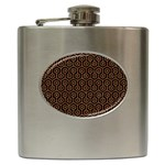 HEXAGON1 BLACK MARBLE & RUSTED METAL (R) Hip Flask (6 oz)