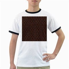 HEXAGON1 BLACK MARBLE & RUSTED METAL (R) Ringer T-Shirts