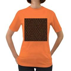 Hexagon1 Black Marble & Rusted Metal (r) Women s Dark T Shirt