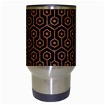 HEXAGON1 BLACK MARBLE & RUSTED METAL (R) Travel Mugs (White) Center