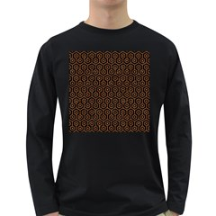 Hexagon1 Black Marble & Rusted Metal (r) Long Sleeve Dark T Shirts by trendistuff