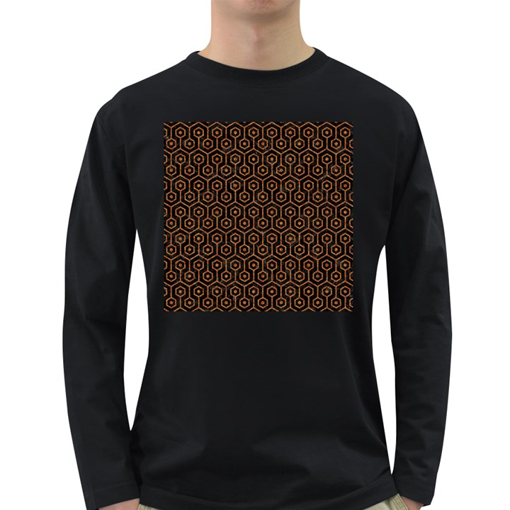 HEXAGON1 BLACK MARBLE & RUSTED METAL (R) Long Sleeve Dark T-Shirts