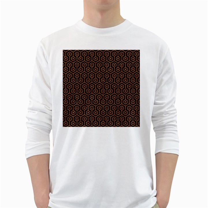 HEXAGON1 BLACK MARBLE & RUSTED METAL (R) White Long Sleeve T-Shirts