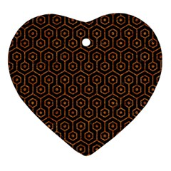 Hexagon1 Black Marble & Rusted Metal (r) Heart Ornament (two Sides)