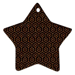 HEXAGON1 BLACK MARBLE & RUSTED METAL (R) Star Ornament (Two Sides)
