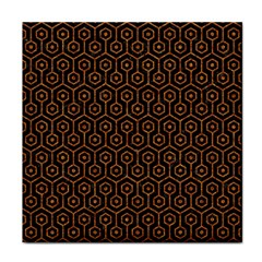 HEXAGON1 BLACK MARBLE & RUSTED METAL (R) Face Towel