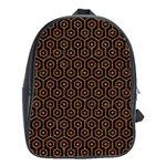 HEXAGON1 BLACK MARBLE & RUSTED METAL (R) School Bag (Large) Front