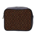 HEXAGON1 BLACK MARBLE & RUSTED METAL (R) Mini Toiletries Bag 2-Side Front