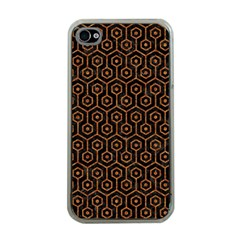 HEXAGON1 BLACK MARBLE & RUSTED METAL (R) Apple iPhone 4 Case (Clear)