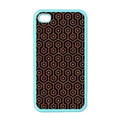 HEXAGON1 BLACK MARBLE & RUSTED METAL (R) Apple iPhone 4 Case (Color)