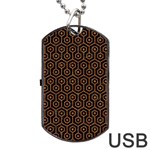 HEXAGON1 BLACK MARBLE & RUSTED METAL (R) Dog Tag USB Flash (One Side) Front