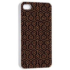 HEXAGON1 BLACK MARBLE & RUSTED METAL (R) Apple iPhone 4/4s Seamless Case (White)