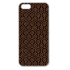 HEXAGON1 BLACK MARBLE & RUSTED METAL (R) Apple Seamless iPhone 5 Case (Clear)