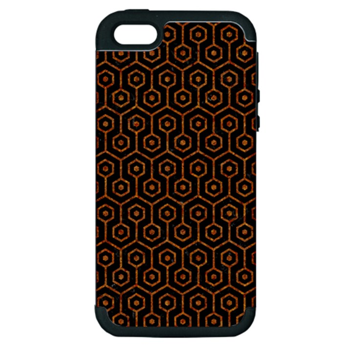 HEXAGON1 BLACK MARBLE & RUSTED METAL (R) Apple iPhone 5 Hardshell Case (PC+Silicone)