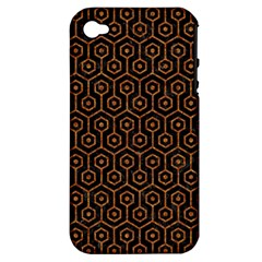 Hexagon1 Black Marble & Rusted Metal (r) Apple Iphone 4/4s Hardshell Case (pc+silicone) by trendistuff