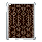 HEXAGON1 BLACK MARBLE & RUSTED METAL (R) Apple iPad 3/4 Case (White) Front