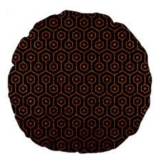 HEXAGON1 BLACK MARBLE & RUSTED METAL (R) Large 18  Premium Round Cushions