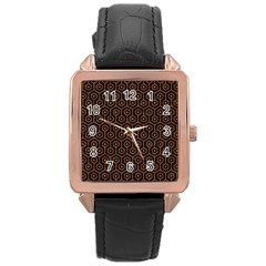 HEXAGON1 BLACK MARBLE & RUSTED METAL (R) Rose Gold Leather Watch