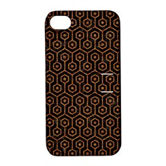 Hexagon1 Black Marble & Rusted Metal (r) Apple Iphone 4/4s Hardshell Case With Stand