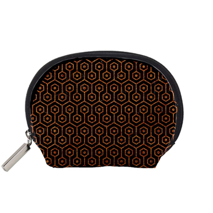 HEXAGON1 BLACK MARBLE & RUSTED METAL (R) Accessory Pouches (Small)