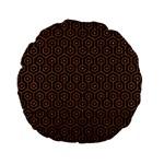 HEXAGON1 BLACK MARBLE & RUSTED METAL (R) Standard 15  Premium Flano Round Cushions Back
