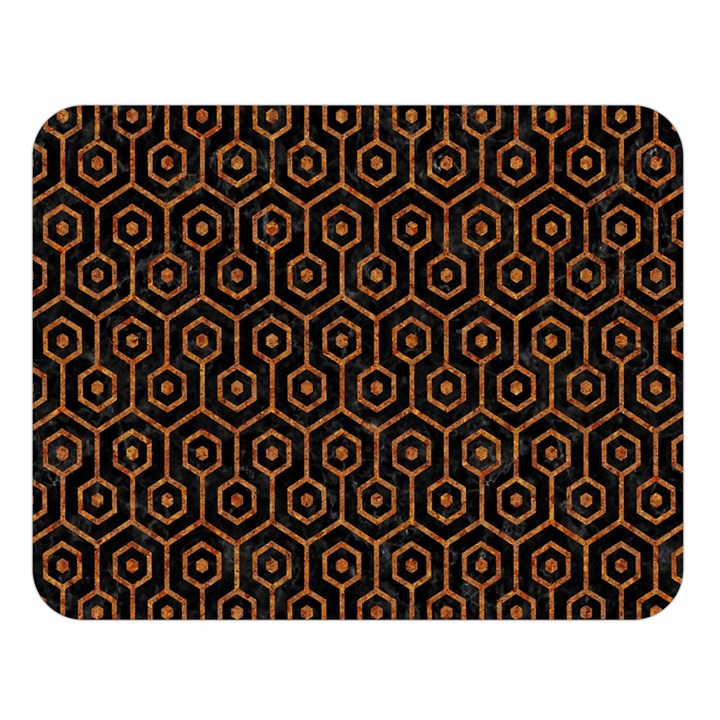 HEXAGON1 BLACK MARBLE & RUSTED METAL (R) Double Sided Flano Blanket (Large)