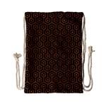 HEXAGON1 BLACK MARBLE & RUSTED METAL (R) Drawstring Bag (Small) Back