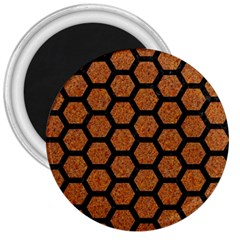 HEXAGON2 BLACK MARBLE & RUSTED METAL 3  Magnets