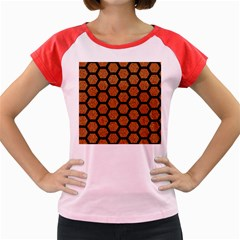 HEXAGON2 BLACK MARBLE & RUSTED METAL Women s Cap Sleeve T-Shirt