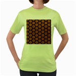 HEXAGON2 BLACK MARBLE & RUSTED METAL Women s Green T-Shirt Front