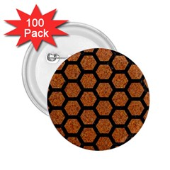 HEXAGON2 BLACK MARBLE & RUSTED METAL 2.25  Buttons (100 pack)