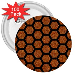 Hexagon2 Black Marble & Rusted Metal 3  Buttons (100 Pack)
